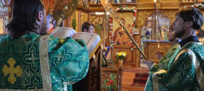 Архиерейская литургия в день Святого Духа в храме Покрова Пресвятой Богородицы.